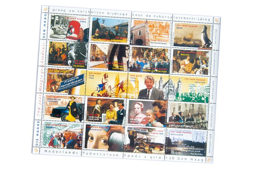 Foto van vel met sluitzegels voor TBC Fonds.