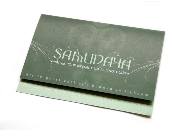 Foto van folder voor Samudaya Praktijk voor integratieve psychotherapie.