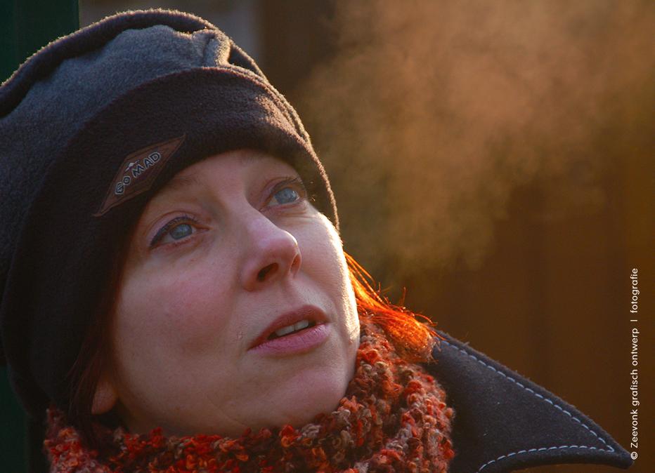 Portretfoto van Karin in de winter.