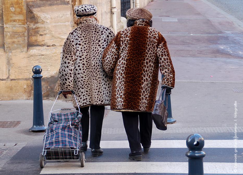 Foto van 2 in luipaardjassen geklede dametjes, in een straat in Nancy, Frankrijk.