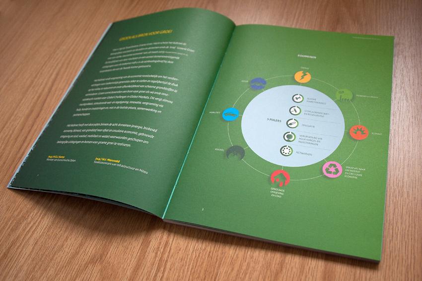 Foto van binnenwerk van boek 'Tussenbalans Groene Groei 2015' voor Ministerie van Economische Zaken