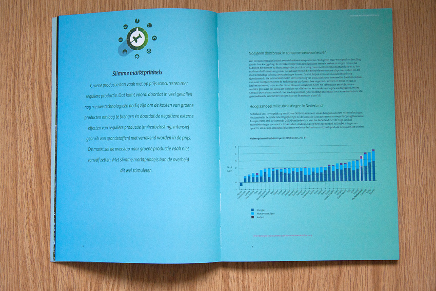 Foto van omslag van boek 'Tussenbalans Groene Groei 2015' voor Ministerie van Economische Zaken