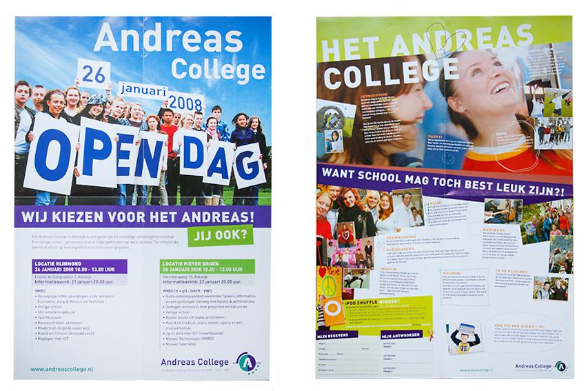 Foto van voor- en achterkant van popster voor open dag voor Andreas College.