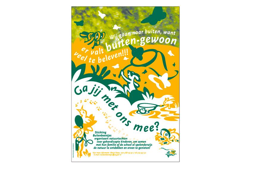 Poster voor vrijwilligersorganisatie Buitenbeentjes.
